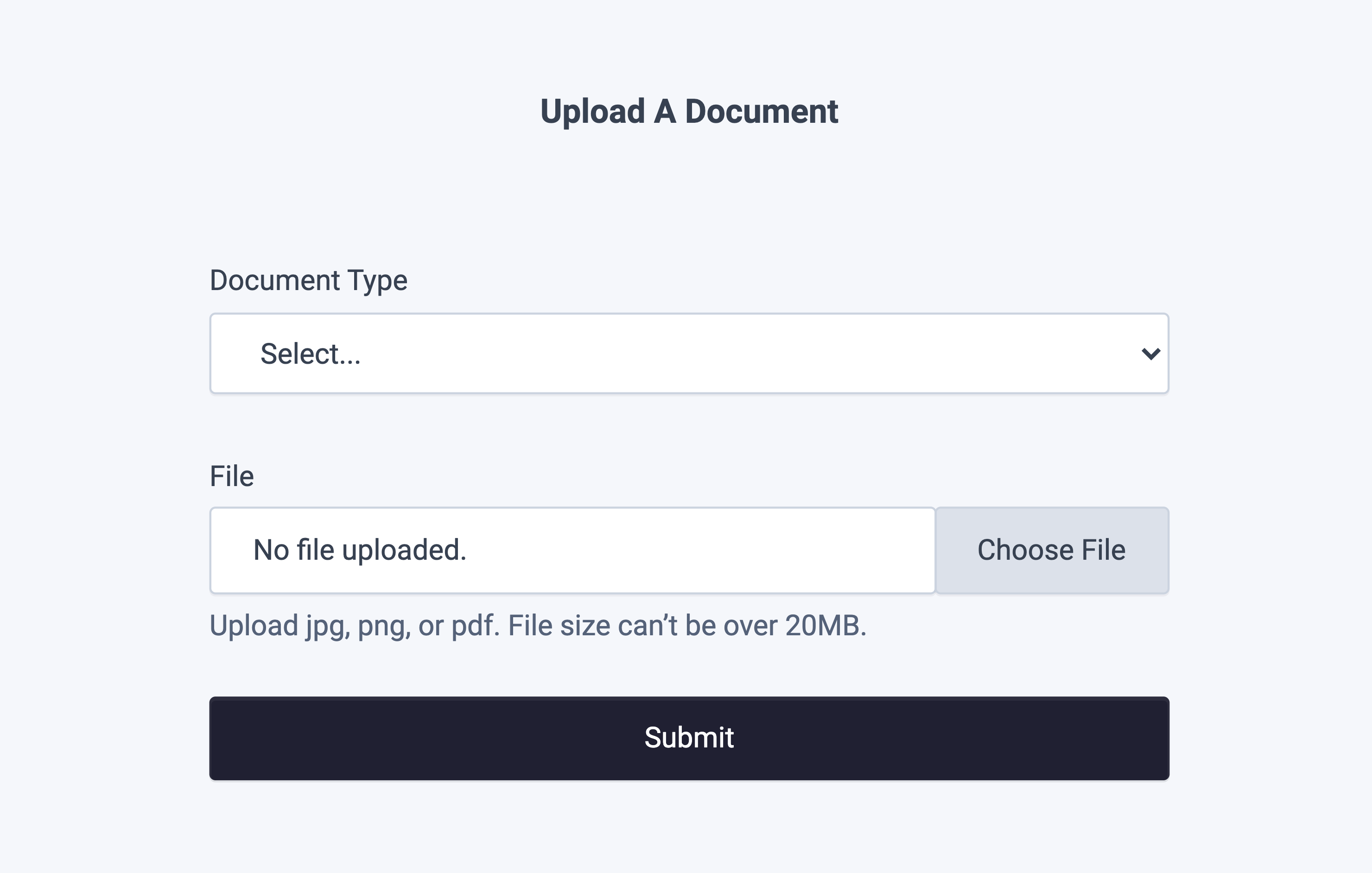 Document Upload Drop-in Component